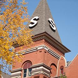 Old Main steeple in fall